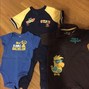 3 short sleeve one-pieces 9 months